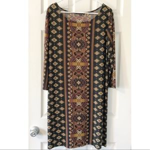 {Tiana B} Black and Brown Patterned Shift Dress